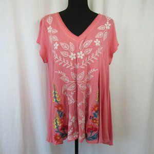 Red Embroidered Swing Top Jersey Knit Tunic